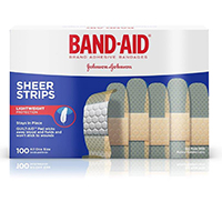 "3251750 Band-Aids Sheer Strips, 3/4"" x 3"", 100/Box, 4634"