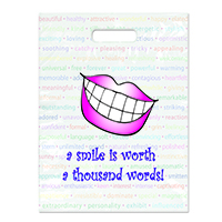 "3310085 Specialty Bags 250 Count A Smile is Worth a Thousand Words, 9"" x 13"", 250/Pkg."