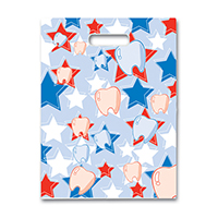 "3310856 Specialty Bags 100 Count Red/White/Blue Tooth & Star, 7"" x 10"", 100/Pkg."