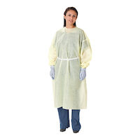 4931529 AAMI Isloation Gowns Lightweight, Tape Tab Neck, Elastic Wrists, Universal, Yellow, 10/Pkg.