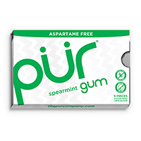 4952820 PUR Gum and Mints Gum, Spearmint, 9 Pieces/Pk, 12 Pk/Case, 168817