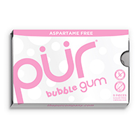 4952826 PUR Gum and Mints Gum, Bubblegum, 9 Pieces/Pk, 12 Pk/Case, 188857