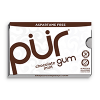 4952827 PUR Gum and Mints Gum, Chocolate, 9 Pieces/Pk, 12 Pk/Case, 178871