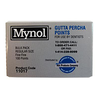 8143108 Mynol Gutta Percha Points Regular, Fine, 100/Pkg., 11018