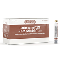 8200350 Carbocaine (Cook-Waite) Carbocaine 2% w/ Neo-Cobefrin, 50/Box, 99196