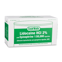 8200410 Lidocaine HCl 2 (Cook-Waite) Epinephrine 1:50,000, Green, 1.7 ml, 50/Box, 99169
