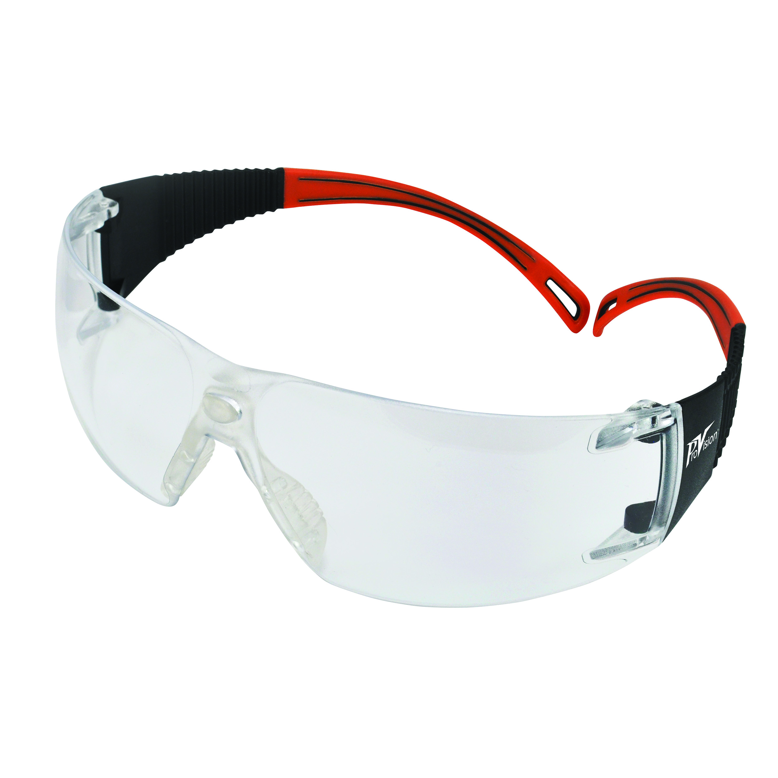9200126 ProVision Flexiwrap Eyewear Black Frame, Orange Tips, Clear Lens, 3609OC