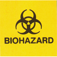 "9539726 Medical Safety Signs Biohazard, 4""x 4"", 25/Pkg., RD2501"