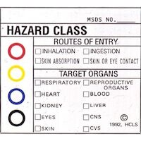"9539748 Medical Safety Signs Hazardous Substances, Color Coded, 2""x 2"", 100/Pkg., 510-5102"