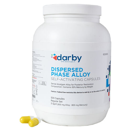 9526850 Dispersed Phase Alloy Regular Set, Three Spill, 800 mg, White/Yellow, 500/Pkg